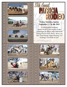 Advertising Patricia Rodeo Sept 2,3 & 4,  2016